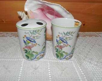 Mann Toothbrush Holder & Cup Morning Glory by Eda - Japanese Fine China