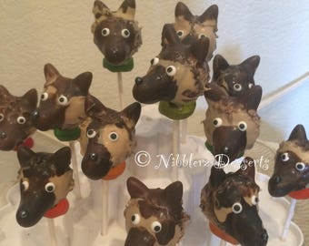 12 GERMAN SHEPHERD cake pops, Police dogs, K9, dog lovers gifts
