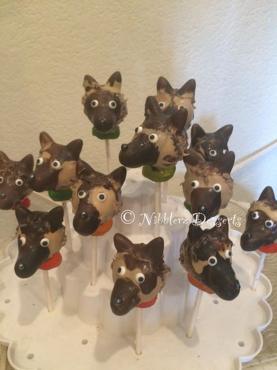 German Shepherd Cake Pops
