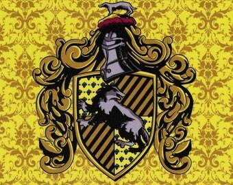 Hufflepuff Crest: Harry Potter fabric print