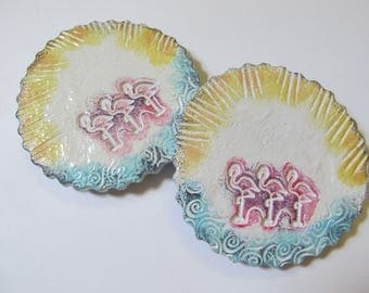 Flamingo Coasters, Tea/Coffee/Drinks, Ceramic White, Blue, Pink, Yellow, Sunshine, Ocean Sea Waves, Beach Coastal Nautical Decor (Set of 2)