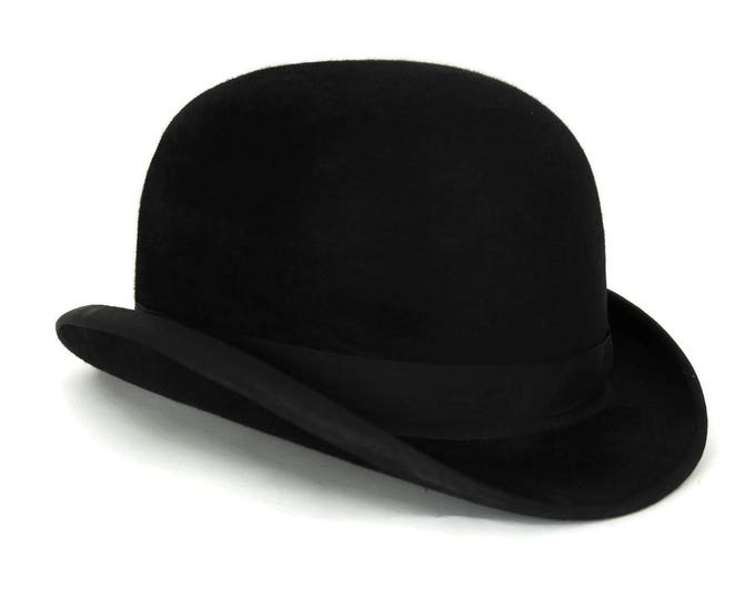 Antique Black Bowler Hat. Vintage Mens Fashion Derby Hat. Steampunk Costume.