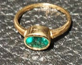 RESERVED Genuine Emerald Ring, 1 Carat Solitaire, 14K Gold, Fine Quality, Vintage Engagement