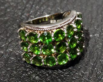 Siberian Emerald Ring, Chrome Diopside, Sterling Silver, Vintage