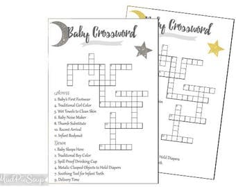 Crossword puzzle etsy printable baby crossword puzzle twinkle star glitter baby shower game gold silver crosswords instant negle Images