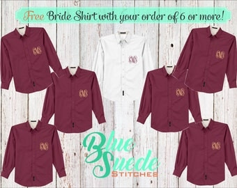 Monogram Bridesmaid Shirts set of 6 or more - Bridal Party Shirts | monogrammed oxford shirts | getting ready shirts | bridal party gifts