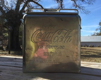 Coke cooler, cocacola, coke collectible, stainless steel cooler, vintage  cooler, silver cooler, picnic  cooler, 1950s, mid century,