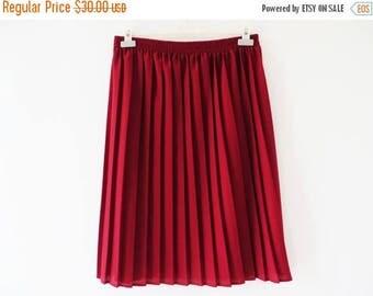 CIJ SALE Crimson Red Skirt Pleated Skirt Vintage 80s Skirt Burgundy Skirt Elastic Waist Skirt Knee Length Skirt Summer Skirt Made in UK Larg