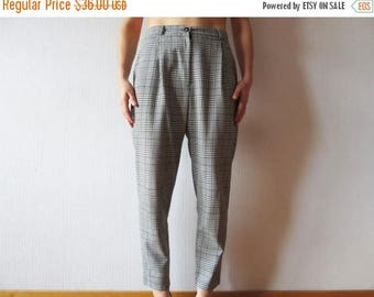 CIJ SALE Vintage 80s Houndstooth Pants Black White Slacks High Waist Pants Womens Plaid Pants Tapered Women Trousers Made in England Medium