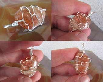 Polished Sunstone Wire Wrapped Crystal Pendant