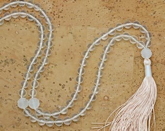 Quartz Lotus Flower Meditation Mala, 108 bead mala, silk tassel, hand-made