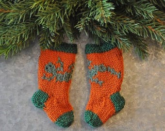 Gecko - Chameleon Hand-Knit Christmas Stocking Ornament