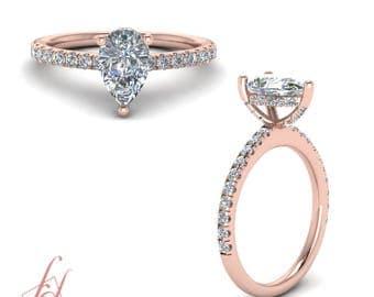 U Prong Petite Engagement Ring 1.10 Carat Pear Shaped Diamond GIA Certified