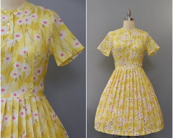 SUMMER SALE 1960's pink and yellow floral day dress • large