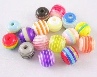 10 x mixed beads assorted colors 8mm Rainbow