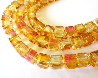 5 x beads glass Cubes 6x6mm IRIDESCENT PINK CRYSTAL faceted