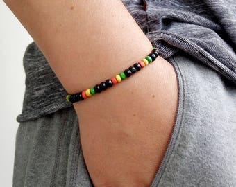 Mens Bracelet Perle Homme Men Bracelete Rasta 4 mm SANDALWOOD Ganja Bob Marley Bracelet Perle Homme Women Women Energy Healt Rasta Ganja