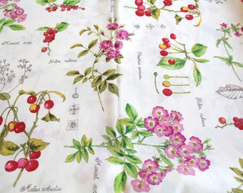 Coupon of fabric flowers and fruits 70 x 50 cm