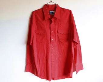 Men's XLARGE Vintage 1970s Wrangler Red Snap Button Long Sleeve Shirt