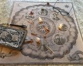 CASTING CLOTH and Pouch for Bones Throwing and Divination
