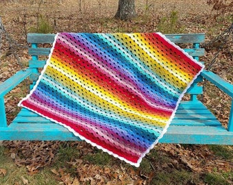 Over the Rainbow Baby Blanket Afghan Baby Shower Gift