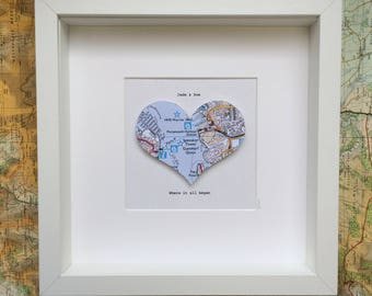 First Anniversary Gift Paper Gift Map Heart Art FRAMED Any
