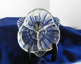 Vintage Hazel Atlas pattern #572 3-way clear pressed glass relish dish