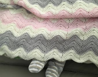 Striped wool baby blanket