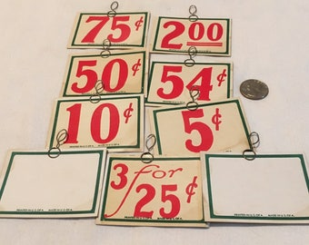 Lot of 9 Antique Store Price tags