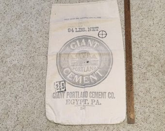 Antique Giant Portland Cement Sack or Bag