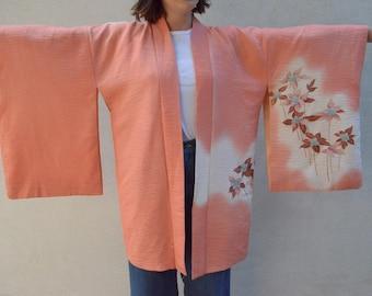 Pretty pink floral vintage silk haori / bridesmaid robe kimono for your vintage wedding day