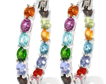 "Sterling Silver 4.89ctw Rhodolite Garnet & Multi Gemstones Earrings 1""L"