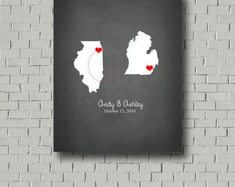 Wedding Guest Book Map Wedding Signs In, Destination Wedding Map Travel Theme 2 States Guest Book Alternative Faux Chalkboard Guestbook Sign