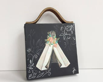 Mini Canvas 4x4 with Leather Handle, Wall Hanging, Hand Painted Floral Teepee