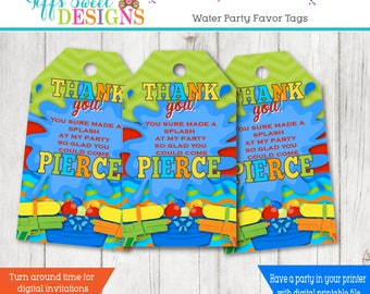 Backyard Water Party Favor Tag - Water War Favor Tag - Water Fight Thank You Tag - Water Gun - Squirt Gun - Water Balloon -