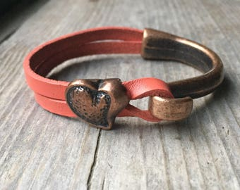 Copper Half Cuff Bracelet With Salmon Leather And Copper Heart Charm - Hook Bracelet
