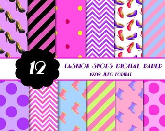 50% OFF High Heel Shoes Digital Paper, Fashion Theme Digital Papers, Scrapbook Paper, Party Supplies, Printable Paper Pack, Commercial