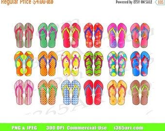 50% OFF Sandals Clip Art, Flip Flops Clip Art, Summer Sandals, Beach Sandals Clipart, Digital Flip Flops, Scrapbook, Planners, PNG