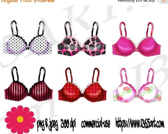50% OFF Lingerie Bra Clipart Set, Bras, Bra Clip Art, Underwear Party, Fashion, Party Invitations, Scrapbooking, PNG & JPEG, Commercial Down