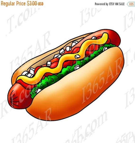 50 OFF Hot Dog Clipart Illustration Digital Scrapbooking