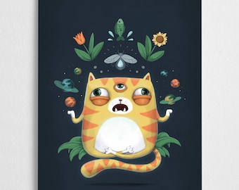 Cat art print, third eye, magical illustration // All Knowing Cat