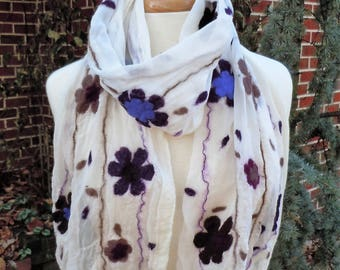 Sheer ivory nuno felted scarf with floral pattern