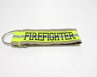Personalized Firefighter Keychain TAN/ Firefighter Gift/ firefighter stocking stuffer/ turnout key chain/ key fob/ bunker gear, FDK100