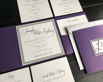 Purple and Silver Glitter Custom Pocket Wedding Invitation Suite | Wedding Announcement | Elegant Wedding Invitation Suite | Purple | Silver