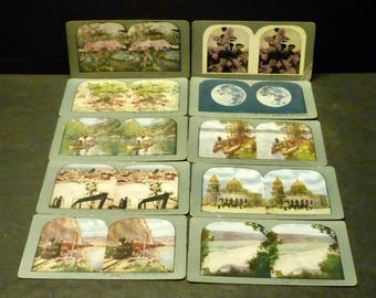 10 Steroview Steroscope Cards - T. W. Ingersolds - antiques from late 1800's early 1900's