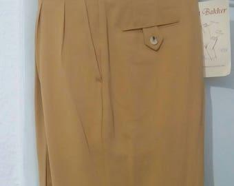 50s style slacks yellow wool gabardine waist 94 cm