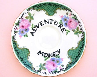 Adventure Money Inspirational Quote Wanderlust Traveller Vintage Plate Wall Decoration Gift for Her Present Ring Dish Piggy Bank Savings