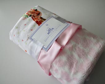 Baby Giraffe and Floral Minky Print wth Pink and White Giraffe Minky Back and Baby Pink Satin Trim Blanket, Baby Girl