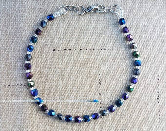 Iris Blue and Sliver Beaded Anklet