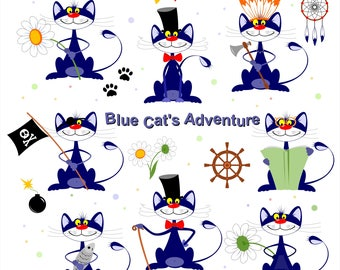 Funny blue cartoon cat's Adventure for greeting card, digital card, clip art, scrapbooking, vector, instant download, png, eps